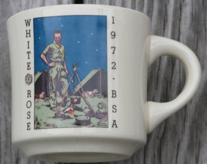 Vintage Boy Scouts coffee cup White Rose BSA 1972