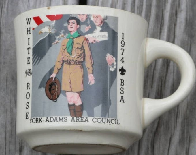 Vintage Boy Scouts coffe cup Whithorse York Adams County Council 1974 BSA