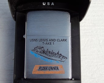 Zippo Lighter USNS Lewis and Clark T-AKE 1 Plank owner nos Zippo