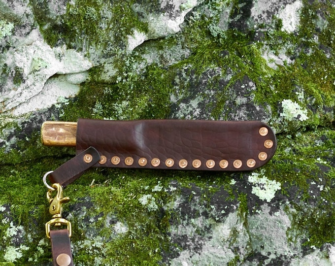 Vintage handmade rigging knife with brass and copper handle and handmade leather dangler sheath