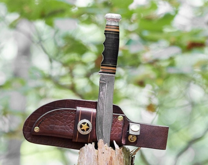 Vintage Kinfolks Fixed Blade knife with custom Leather Sheath