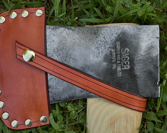 Vintage Sager axe from Warren Axe and Tool Co with handmade leather sheath