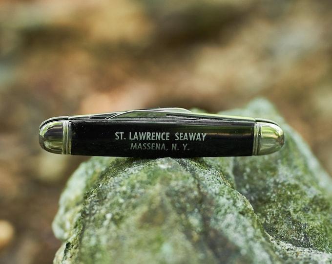 Vintage Imperial NOS 2 blade pocket knife with St Lawrence Seaway Massena New York  1946-56