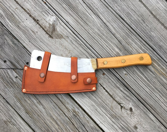Vintage Craftsman Meat Cleaver with leather sheath