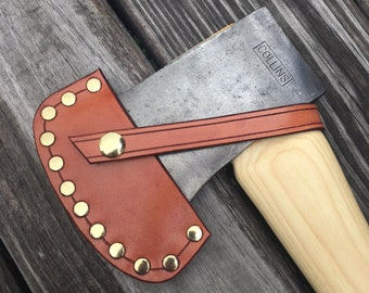 Vintage Collins Boys Axe with handmade leather sheath