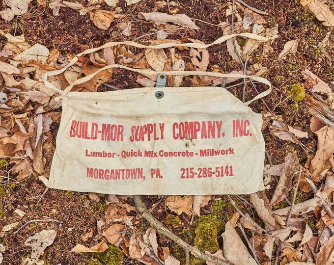 Vintage Build Mor Supply Company nail apron from Morgantown Pennsylvania