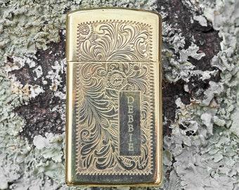 Zippo Vintage Brass Zippo Slime Line with scrolling lighter