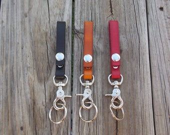 Handmade leather keychain with heavy duty swivel snap and key ring Black Saddle Tan Pink