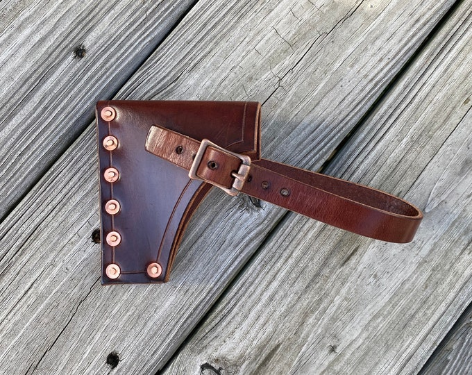 Leather Axe sheath made from Wickett and Craig Harness Leather