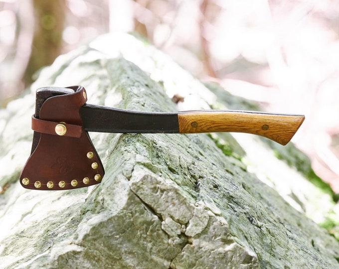 Bridgeport Boy Scout hatchet with custom leather sheath