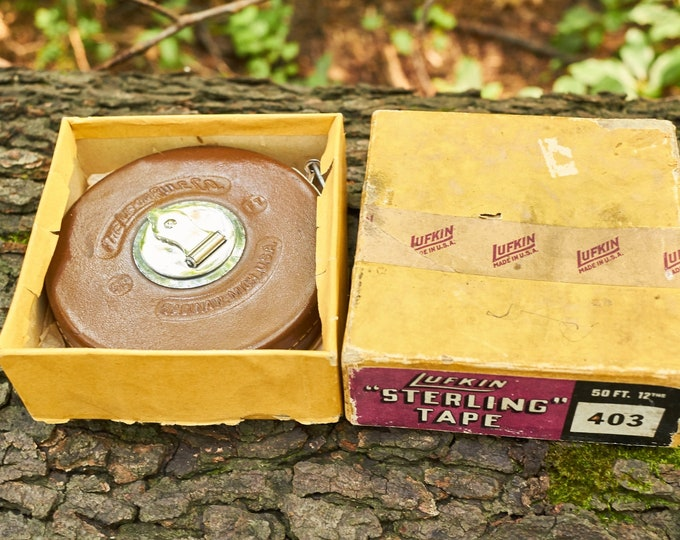 Vintage Lufkin Tape measure in the original box Sterling Tape 403  50 ft
