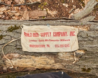 Vintage Build Mor Supply Company nail apron Morgantown Pennsylvania 215-286-5141