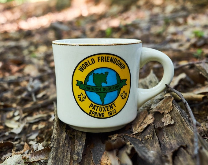 Vintage Boy Scouts of America coffee cup World Friendship Through Scouting Patuxent Spring 1973