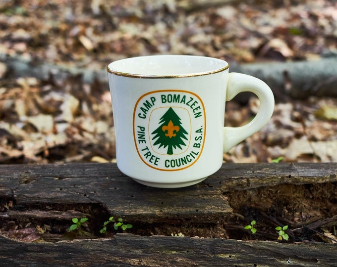 Vintage Boy Scouts of America Coffee cup Camp Bomazeen Pine Tree Council BSA