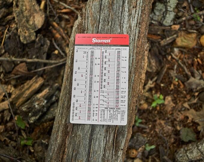 Starrett pocket chart tap drill sizes