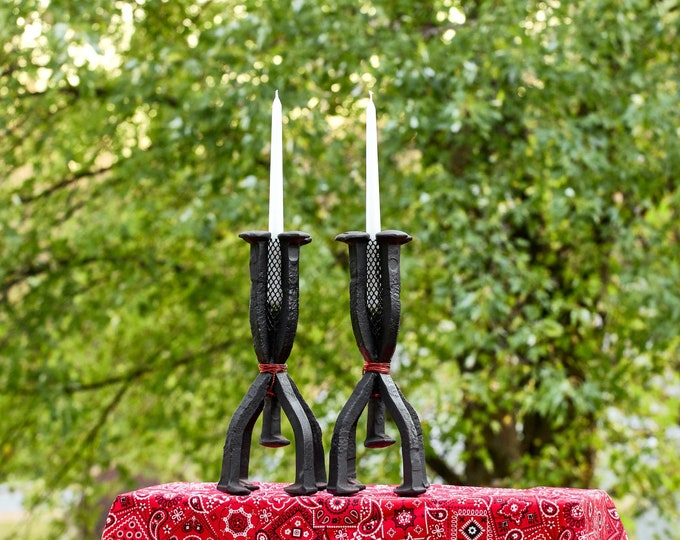 Candle Stick Holders Handmade Railroad Spike Candle Stick holder Set