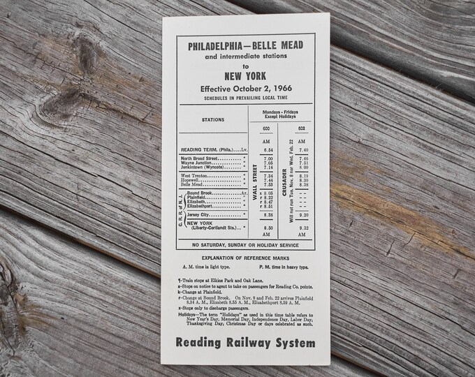 Philadelphia -Bell Mead to New York time table 1966 Reading Railway System
