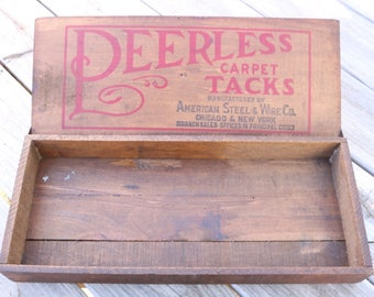 Peerless Carpet Tack wooden box