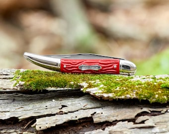Vintage Colonial Fish Knife Red single blade pocket knife