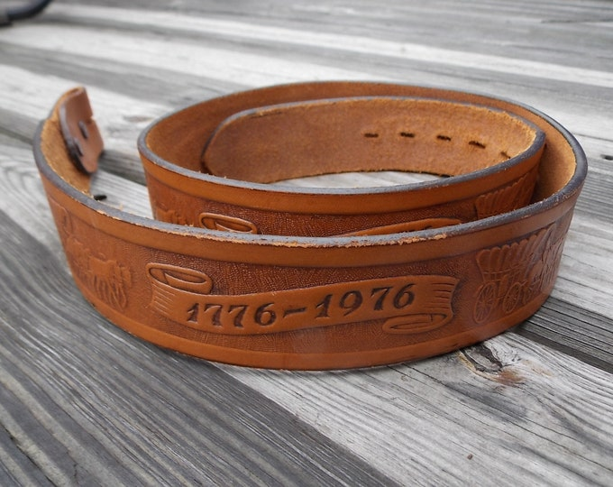 Vintage Justin Boots Leather belt 1776-1976