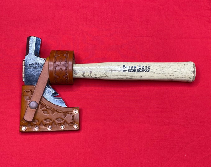 Briar Edge Service Tool hatchet with handmade leather sheath and belt hanger