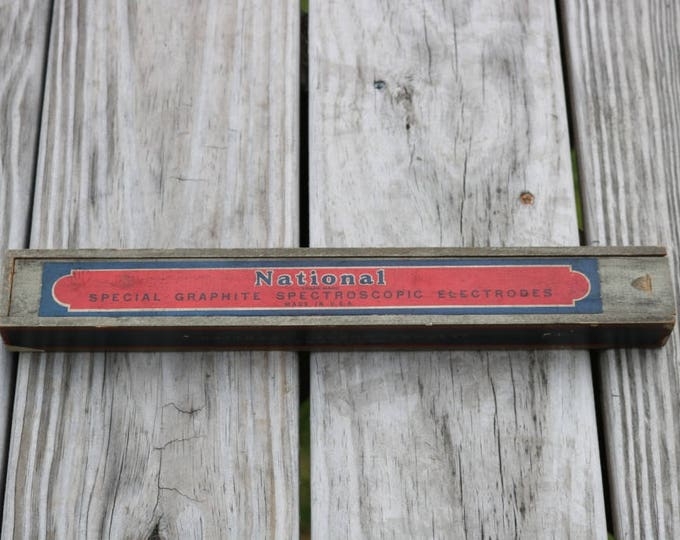 Vintage wood dove tail box from National special graphite spectroscopic electrodes