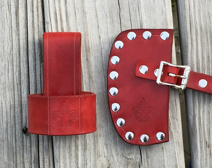 Boy Scouts of America handmade leather hatchet sheath and axe/hatchet belt carrier