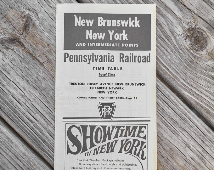 Vintage New Brunswick New York Pennsylvania Railroad Time Table 1967