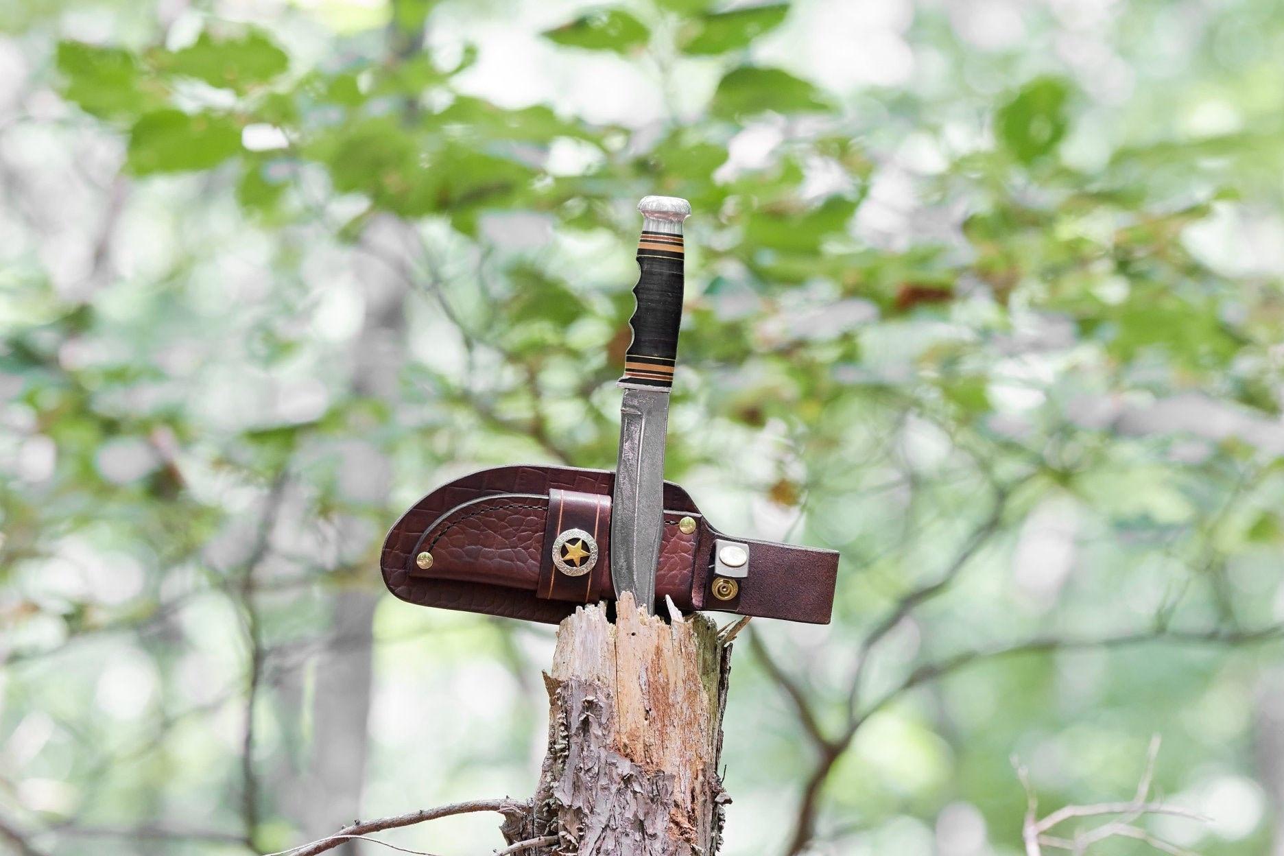 Vintage Kinfolks Fixed Blade knife with custom Leather Sheath