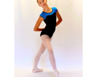 Ballet Leotard in Classic Black with Blue Neckline and Button Closure