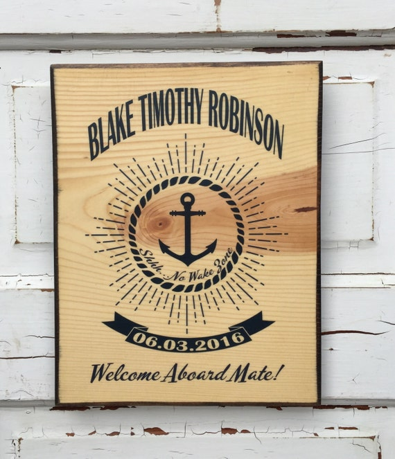 Nautical Decor Art Personalized For Baby Boy's Nursery Room- Welcome Baby Boy Print on Wood- Sailing Anchor Themed Personalized Baby Decor