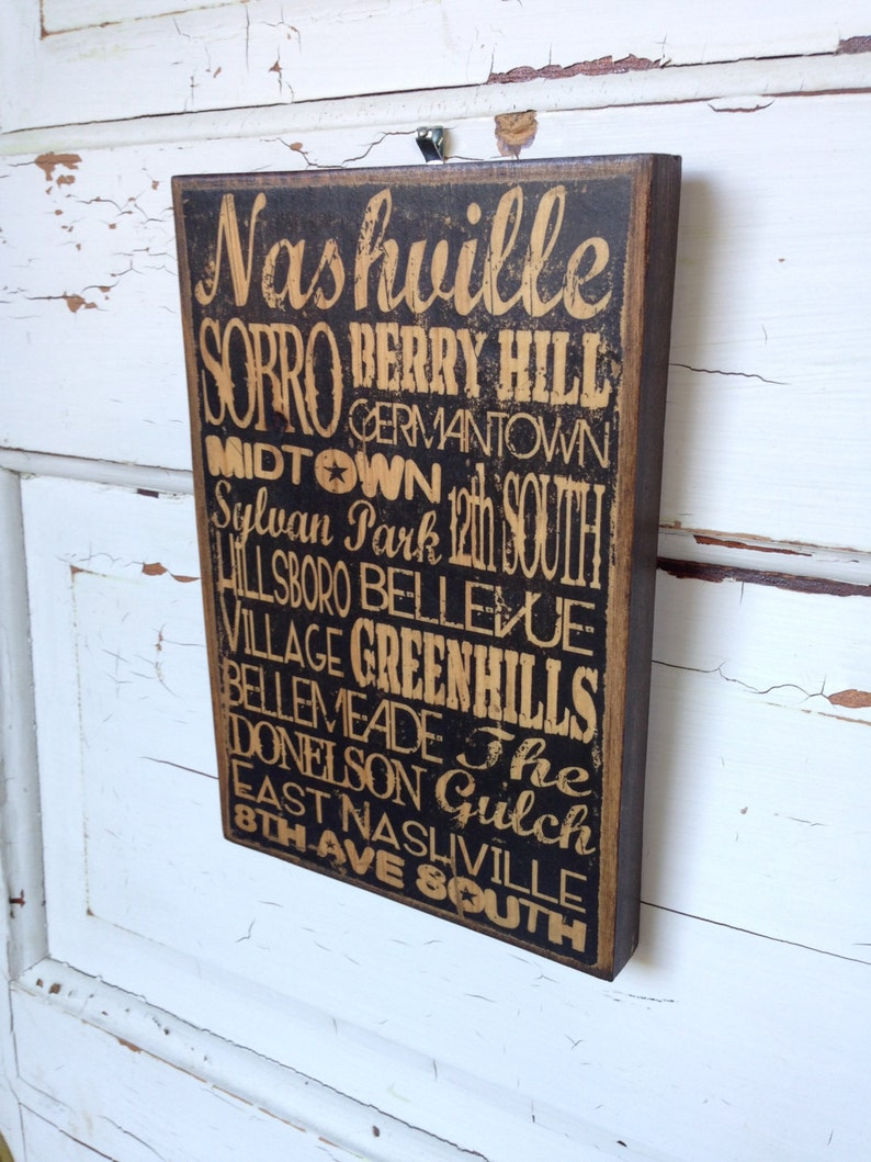 Nashville Tennessee City Areas Typography Sign On Wood image 0