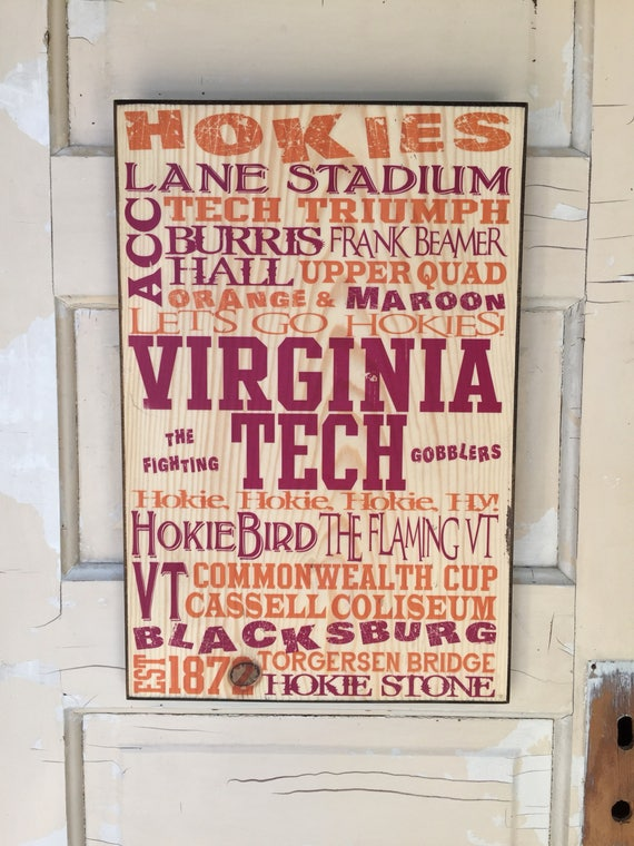 Virginia Tech Sign on Wood, VT Hokie Sign, Fighting Gobblers Sign, Virginia Tech Decor, Virginia Tech Gift Dad, VT Gift Guy, Hokiebird Sign