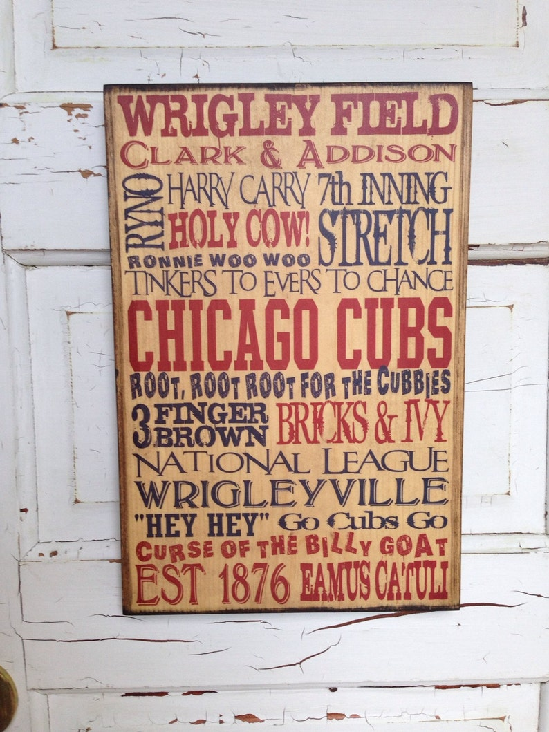 Chicago Cubs Sign On Wood Gift For Dad Cubs Baseball Sign image 0