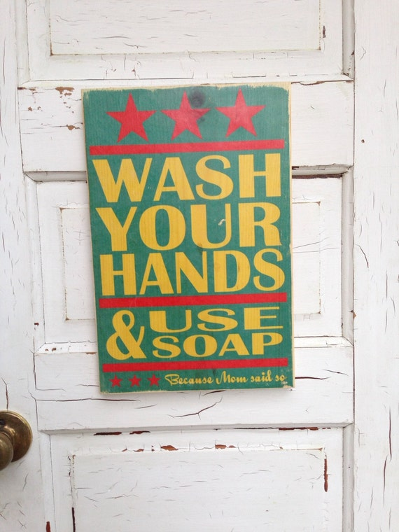 Wash Your Hands And Use Soap Because Mom Said So Kids Bathroom Typography Wood Sign, Childrens Bathroom Rules, Kids Bathroom Decor, Kids Art