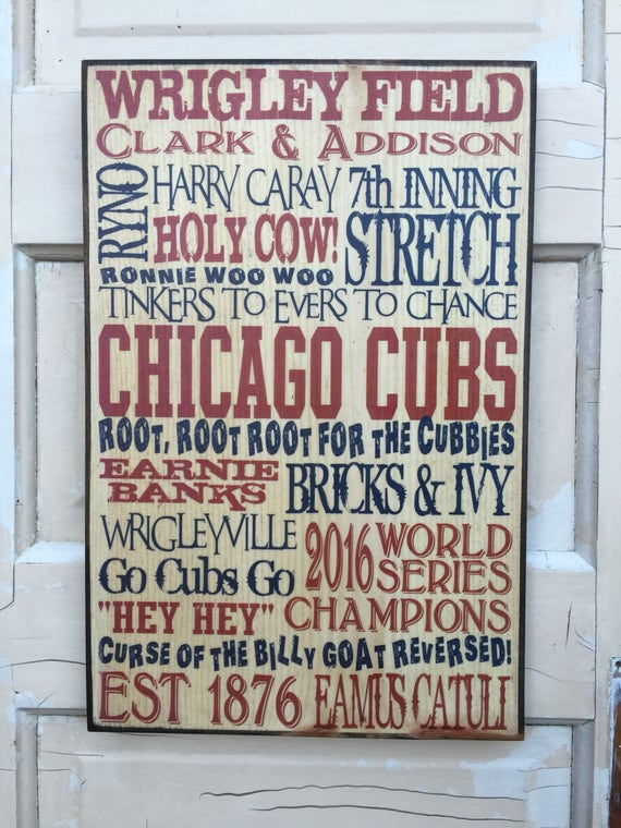Chicago Cubs 2016 World Series Champions Sign, Cubs Baseball Art For Boys Room, Chicago Cubs Sign For Him, Gift For Husband, Gift For Guys