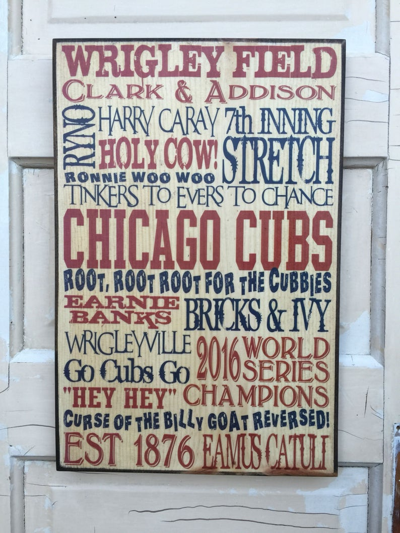 Chicago Cubs 2016 World Series Champions Sign Cubs Baseball image 0
