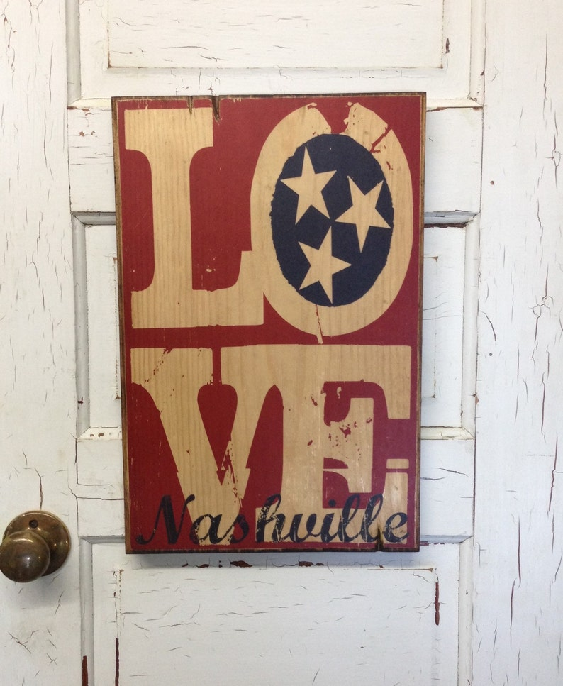 Nashville Tennessee Typography Art Print On Wood Art For Boys image 0