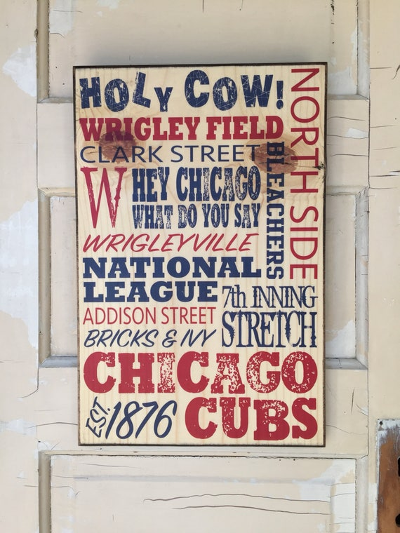 Chicago Cubs Sign On Wood, Gift For Dad, Cubs Baseball Sign, Chicago Cubs Decor, Boys Room Decor, Chicago Cubs Baseball Art, Cubs Sign Guys