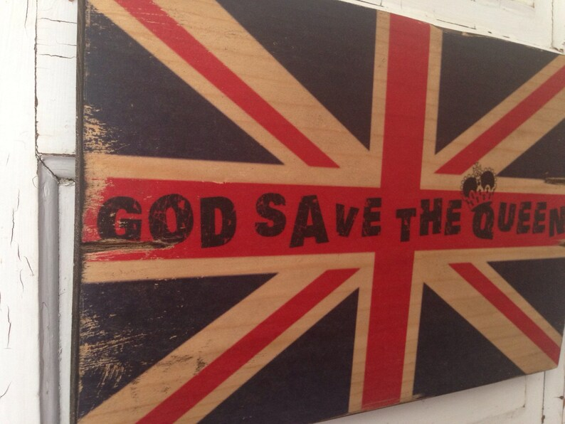 Union Jack Art God Save The Queen Vintage British Flag On image 0