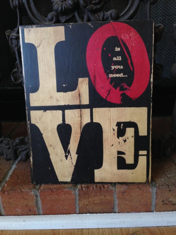 Love Is All You Need Wood Sign For Her, Valentines Day Art For Girlfriend, Rustic Love Sign For Wedding, Love Is All You Need Gift Art