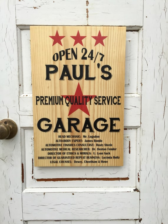 Personalized Custom Sign for Dad Husband, Mechanic's Sign For Him, Gift For Guy Car Mechanic, Christmas Gift Dad's Autobody, Gift Gear Head