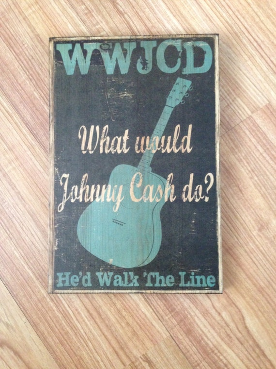 What Would Johnny Cash Do? Johnny Cash Walk The Line Art, Johnny Cash Print on Wood, Turquoise Guitar Typography Art, Music Typography Art,