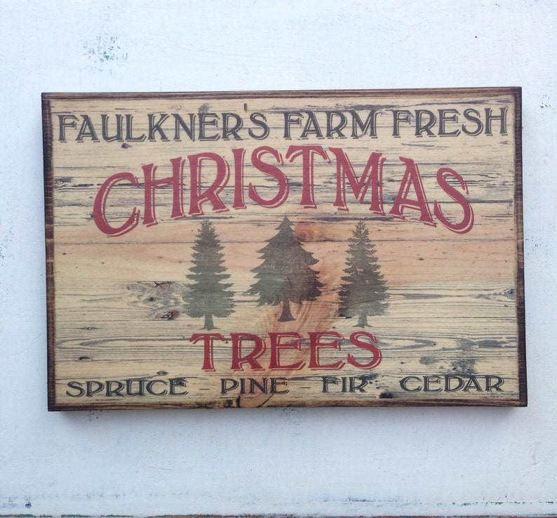 Personalized Vintage Farm Fresh Christmas Trees Sign On Wood image 0