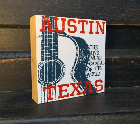 Austin Texas Guitar Art Print- Austin Live Music Print- Music Gift For Musician- Music Decor- Music Art Gifts Under 20- Small Art Block