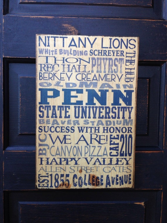 Penn State University Wood Sign Decor- Pennsylvania State Gift For Dad- Penn State Art for Boys Room- Penn State Decor- Penn St Graduate