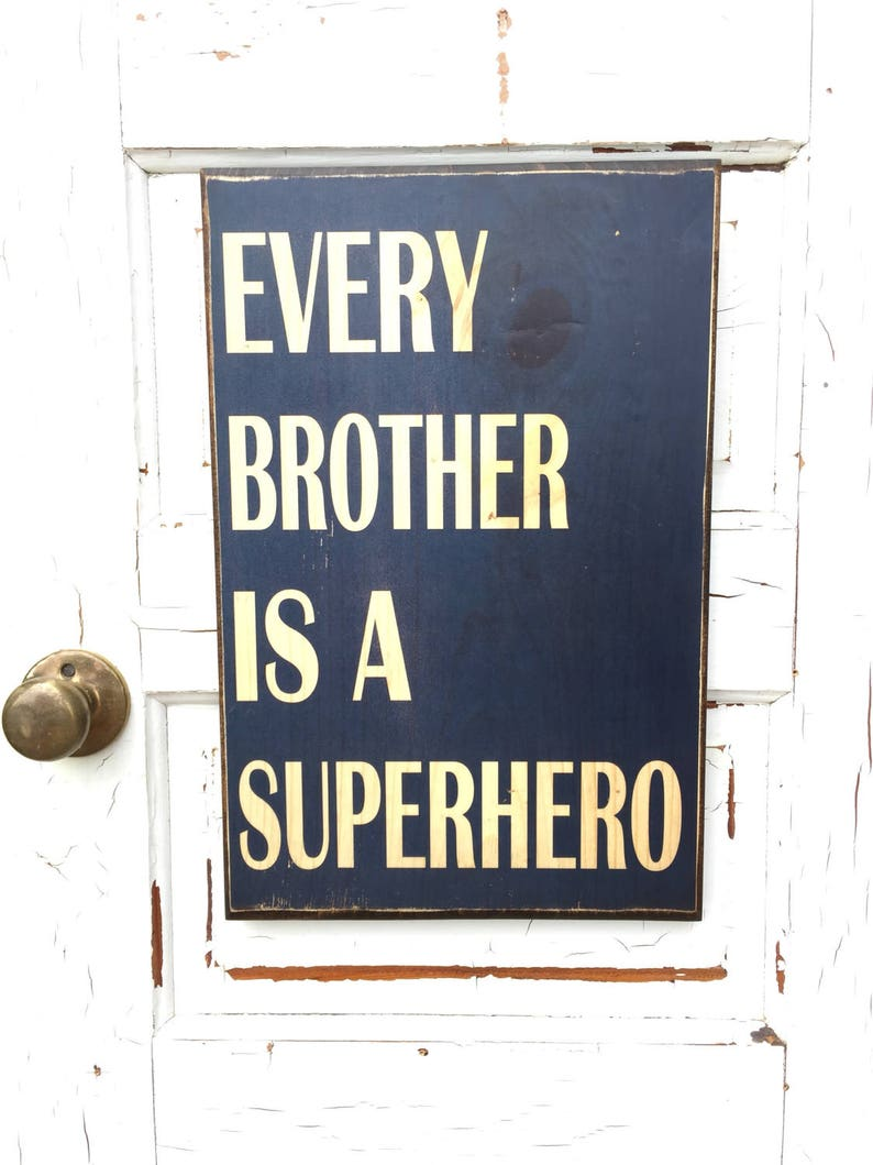 Every Brother Is A Superhero Sign On Wood Superhero Decor For image 0
