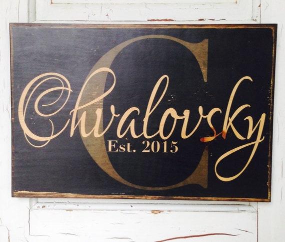 Custom Family Name Established Decor Art On Wood- Custom Monogram Wood Sign- Personalized Wedding Gift Art- Family Last Name On Wood Decor
