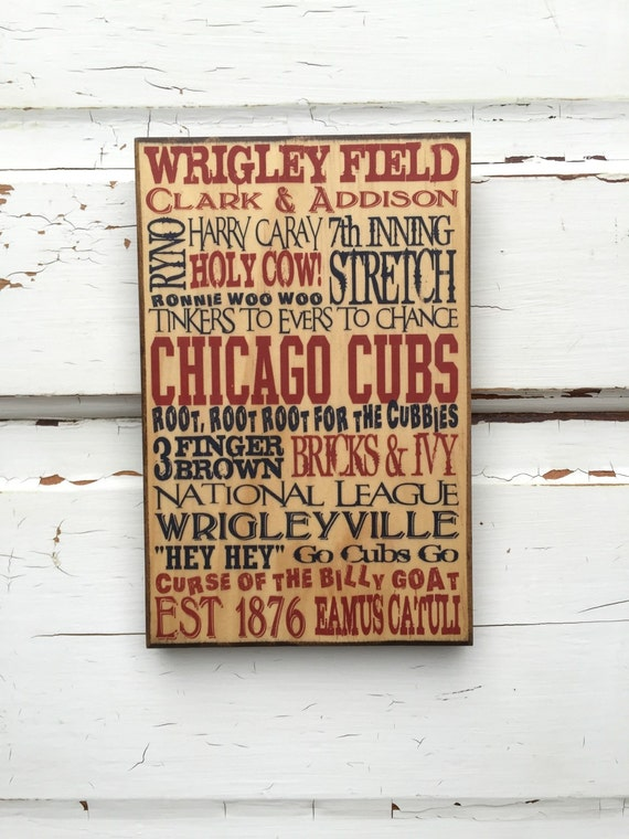 Chicago Cubs Baseball Sign On Wood, Cubs Sign For Dad, Cubs Baseball Art For Him, Cubs Baseball Decor For Him, Cubs Sport Sign Print For Man