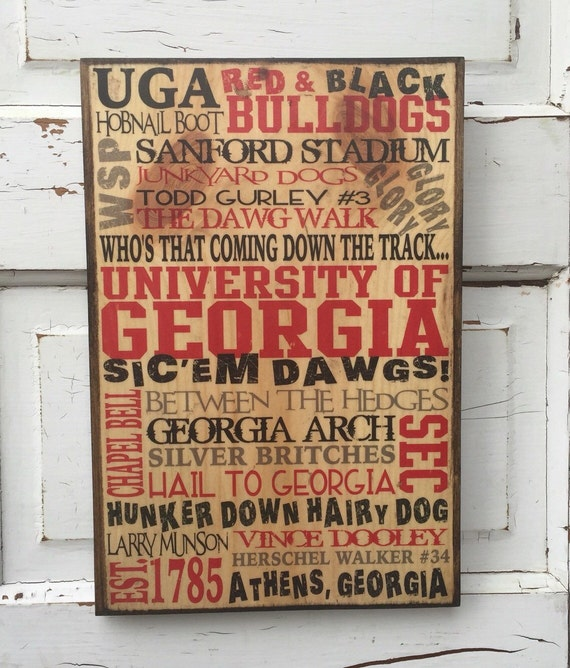University of Georgia Print on Wood- UGA Sign- University of Georgia Art- Boys Room Decor- Art for Georgia fan- University Georgia Football
